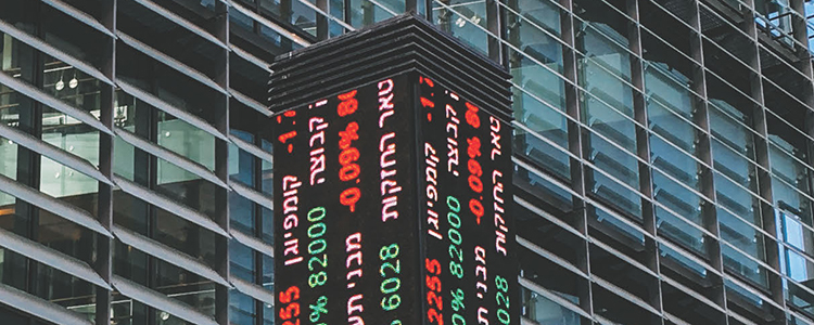 financial data LED display on street