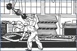 drawing of men working on production line