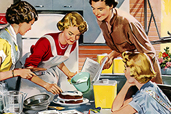 50s vintage ad depicting women in the kitchen