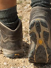 feet in boots walking